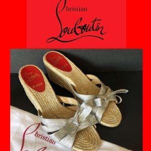 Christian Louboutin Silver Ribbon Wedge Sandals